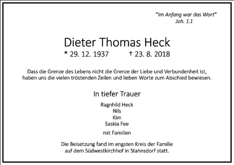 Traueranzeigen Von Dieter Thomas Heck Frankfurter Allgemeine Lebenswege