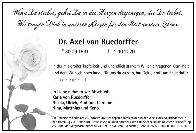 Traueranzeige für Axel von Ruedorffer vom 17.10.2020 aus Frankfurter Allgemeine Zeitung