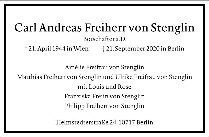Traueranzeige für Carl Andreas Freiherr von Stenglin vom 17.10.2020 aus Frankfurter Allgemeine Zeitung
