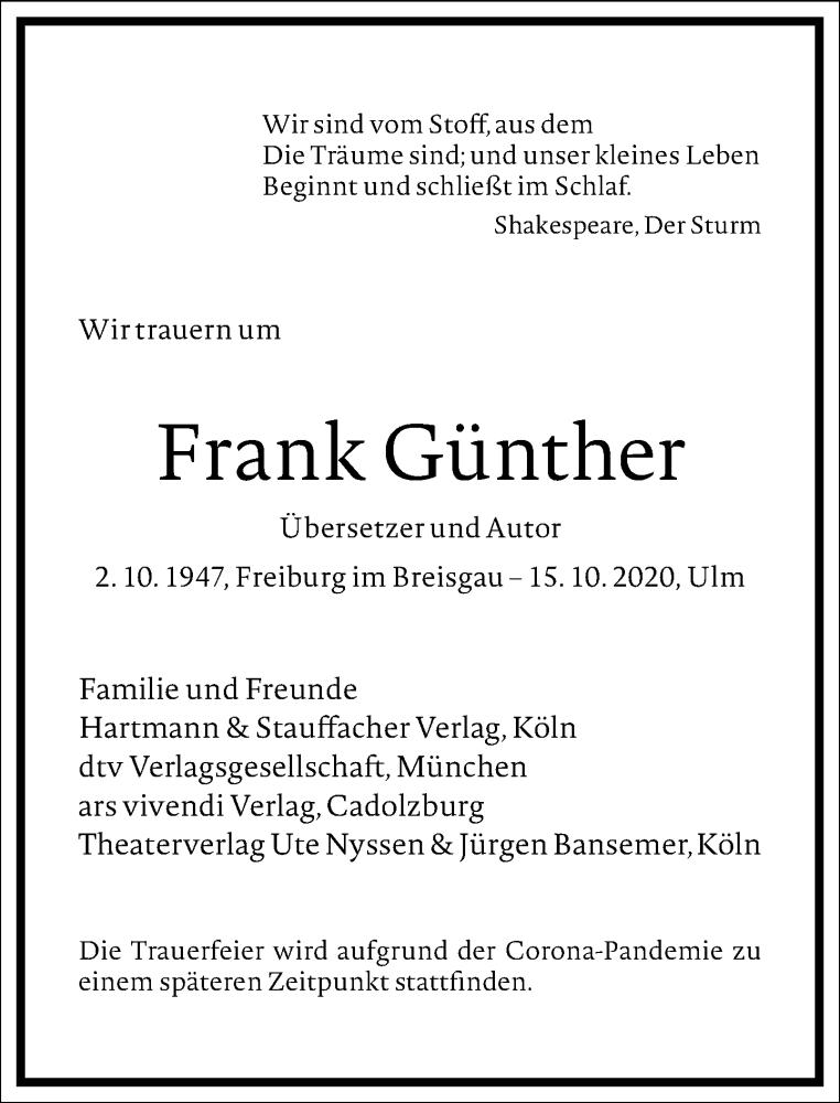Traueranzeige für Frank Günther vom 24.10.2020 aus Frankfurter Allgemeine Zeitung