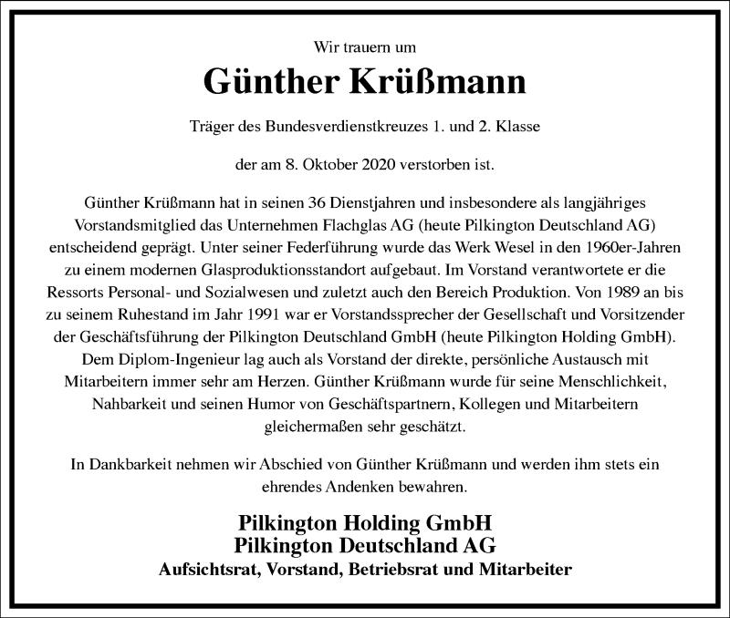 Traueranzeige für Günther Krüßmann vom 17.10.2020 aus Frankfurter Allgemeine Zeitung