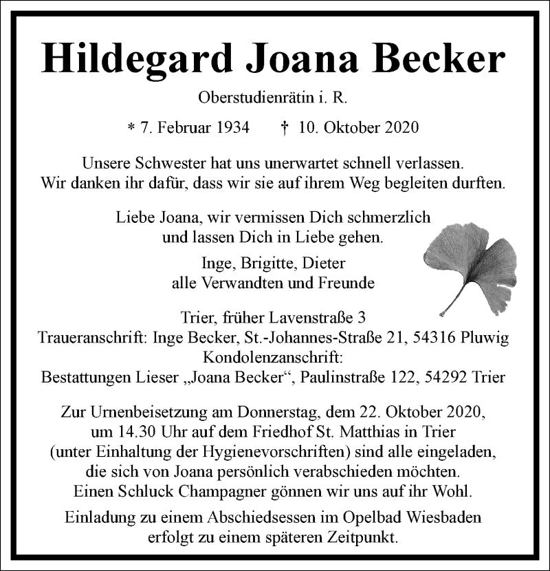 Traueranzeige für Hildegard Joana Becker vom 17.10.2020 aus Frankfurter Allgemeine Zeitung