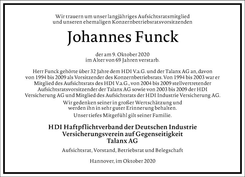 Traueranzeige für Johannes Funck vom 17.10.2020 aus Frankfurter Allgemeine Zeitung