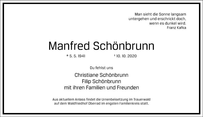 Traueranzeige für Manfred Schönbrunn vom 17.10.2020 aus Frankfurter Allgemeine Zeitung