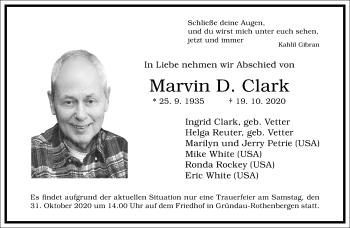 Traueranzeige von Marvin D. Clark von Frankfurter Allgemeine Zeitung