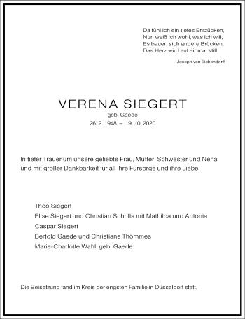 Traueranzeige von Verena Siegert von Frankfurter Allgemeine Zeitung