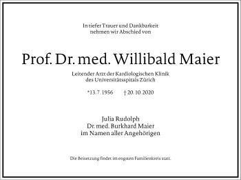 Traueranzeige von Willibald Maier von Frankfurter Allgemeine Zeitung