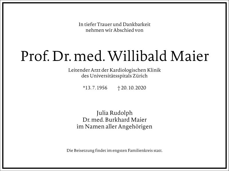 Traueranzeige für Willibald Maier vom 28.10.2020 aus Frankfurter Allgemeine Zeitung
