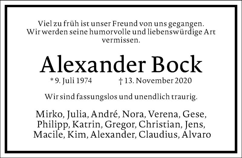 Traueranzeige für Alexander Bock vom 21.11.2020 aus Frankfurter Allgemeine Zeitung