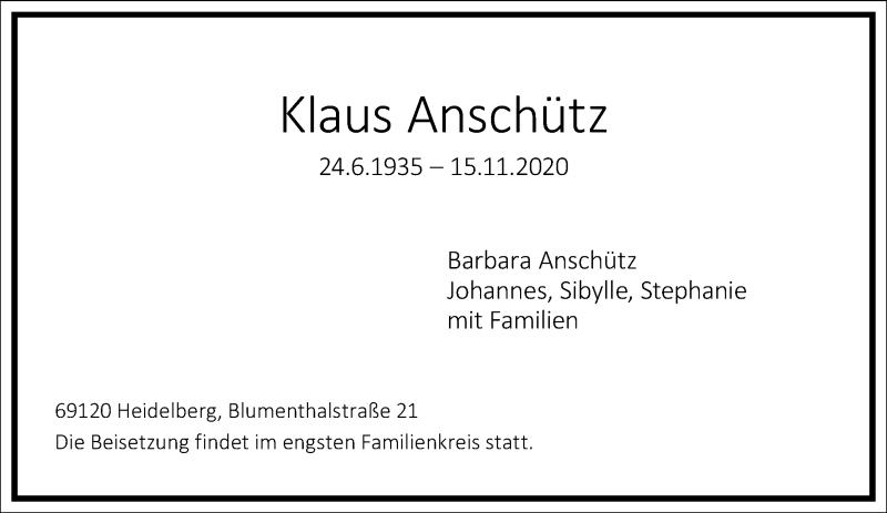 Traueranzeige für Klaus Anschütz vom 21.11.2020 aus Frankfurter Allgemeine Zeitung