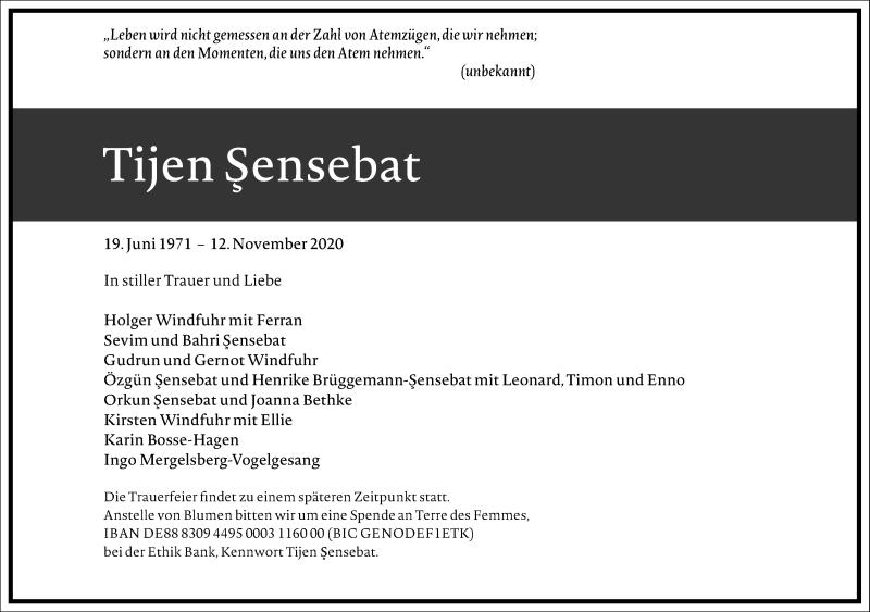 Traueranzeige für Tijen Sensebat vom 21.11.2020 aus Frankfurter Allgemeine Zeitung