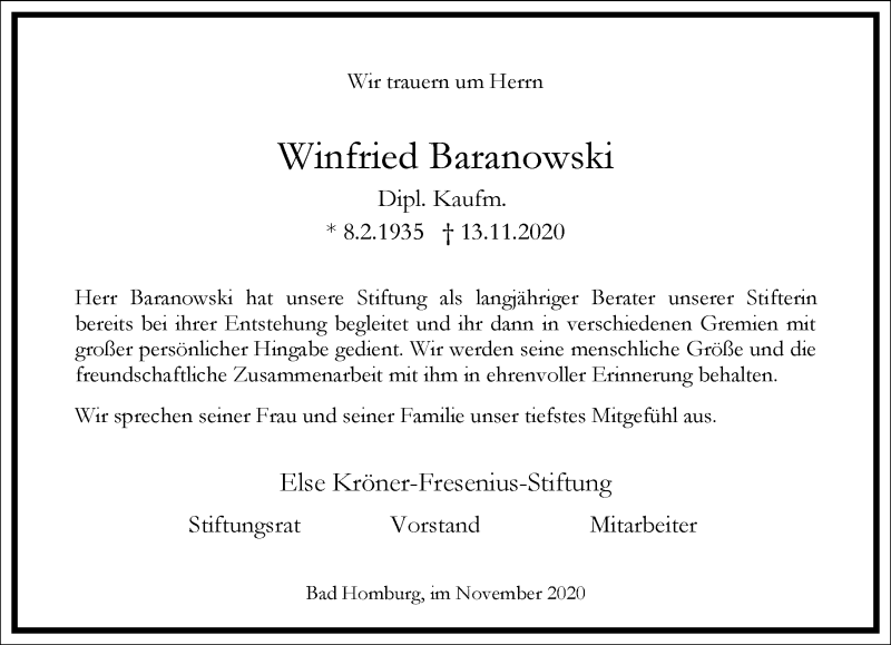 Traueranzeige für Winfried Baranowski vom 18.11.2020 aus Frankfurter Allgemeine Zeitung