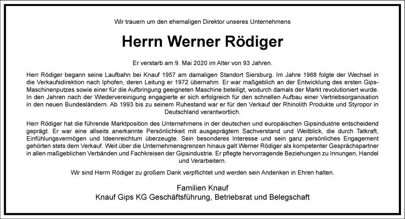 Traueranzeige für Werner Rödiger vom 16.05.2020 aus Frankfurter Allgemeine Zeitung