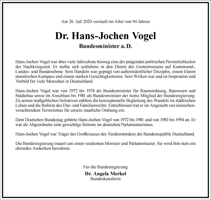Traueranzeige für Hans-Jochen Vogel vom 01.08.2020 aus Frankfurter Allgemeine Zeitung