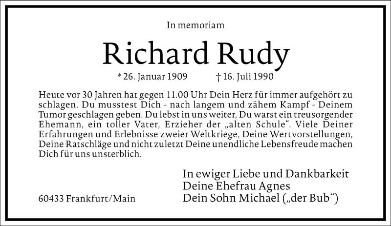 Traueranzeige für Richard Rudy vom 16.07.2020 aus Frankfurter Allgemeine Zeitung