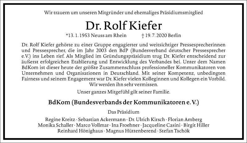 Traueranzeige für Rolf Kiefer vom 01.08.2020 aus Frankfurter Allgemeine Zeitung