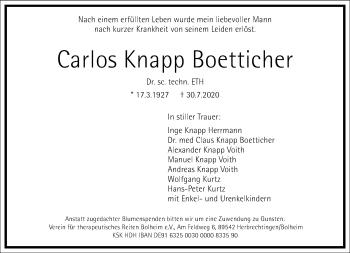 Traueranzeige von Carlos Knapp Boetticher von Frankfurter Allgemeine Zeitung