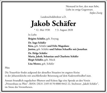 Traueranzeige von Jakob Schäfer von Frankfurter Allgemeine Zeitung