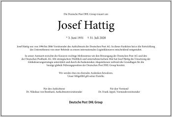 Traueranzeige von Josef Hattig von Frankfurter Allgemeine Zeitung