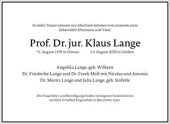 Traueranzeige von Klaus Lange von Frankfurter Allgemeine Zeitung