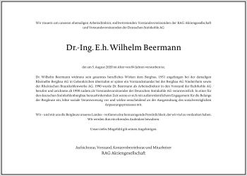 Traueranzeige von Wilhelm Beermann von Frankfurter Allgemeine Zeitung