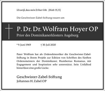 Traueranzeige von Wolfram Hoyer von Frankfurter Allgemeine Zeitung