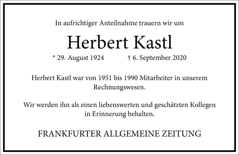 Traueranzeige für Herbert Kastl vom 12.09.2020 aus Frankfurter Allgemeine Zeitung