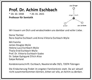 Traueranzeige von Achim Eschbach von Frankfurter Allgemeine Zeitung