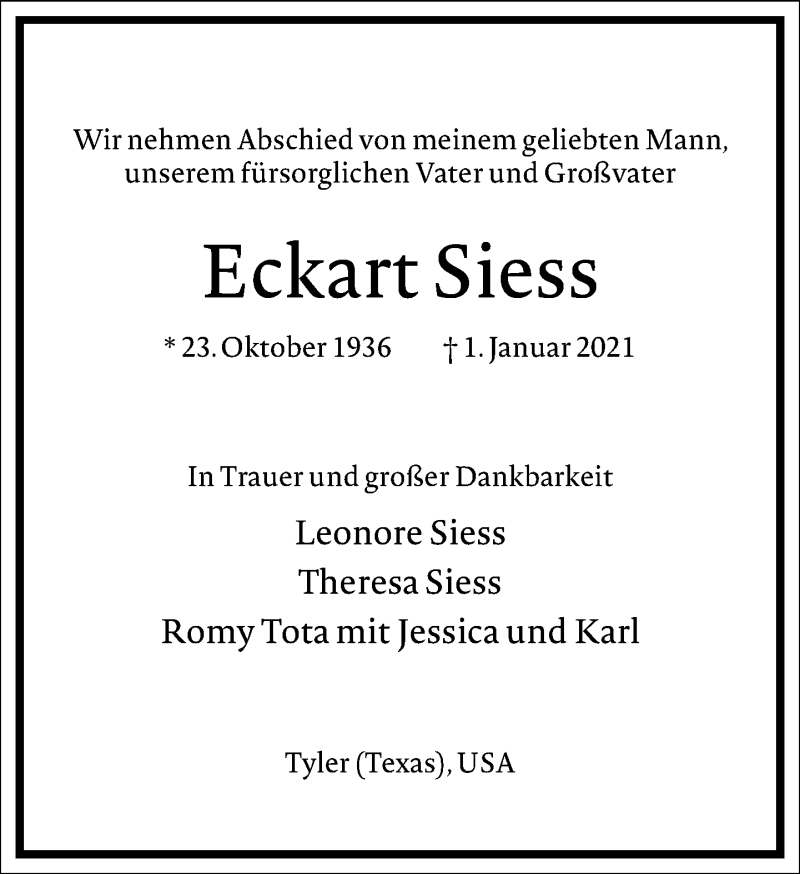 Traueranzeige für Eckart Siess vom 13.01.2021 aus Frankfurter Allgemeine Zeitung