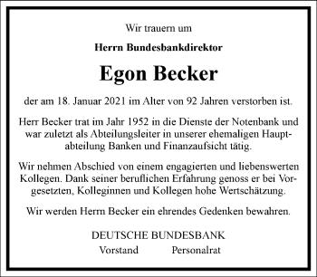 Traueranzeige von Egon Becker von Frankfurter Allgemeine Zeitung