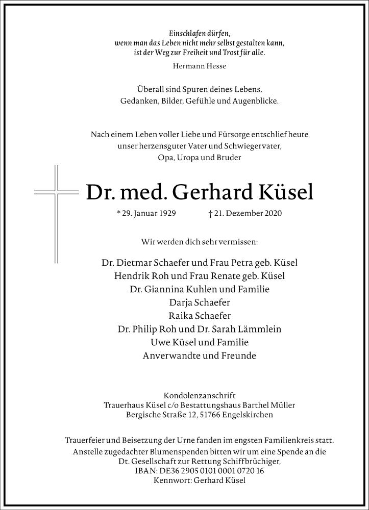 Traueranzeige für Gerhard Küsel vom 09.01.2021 aus Frankfurter Allgemeine Zeitung