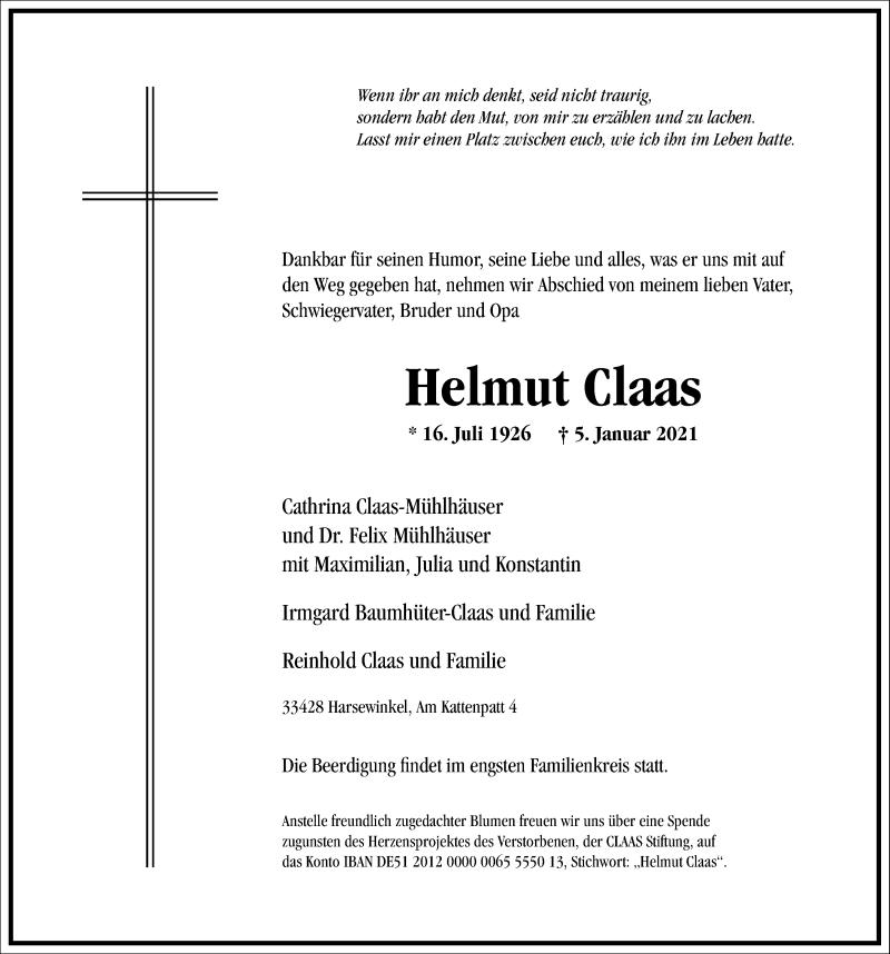 Traueranzeige für Helmut Claas vom 09.01.2021 aus Frankfurter Allgemeine Zeitung