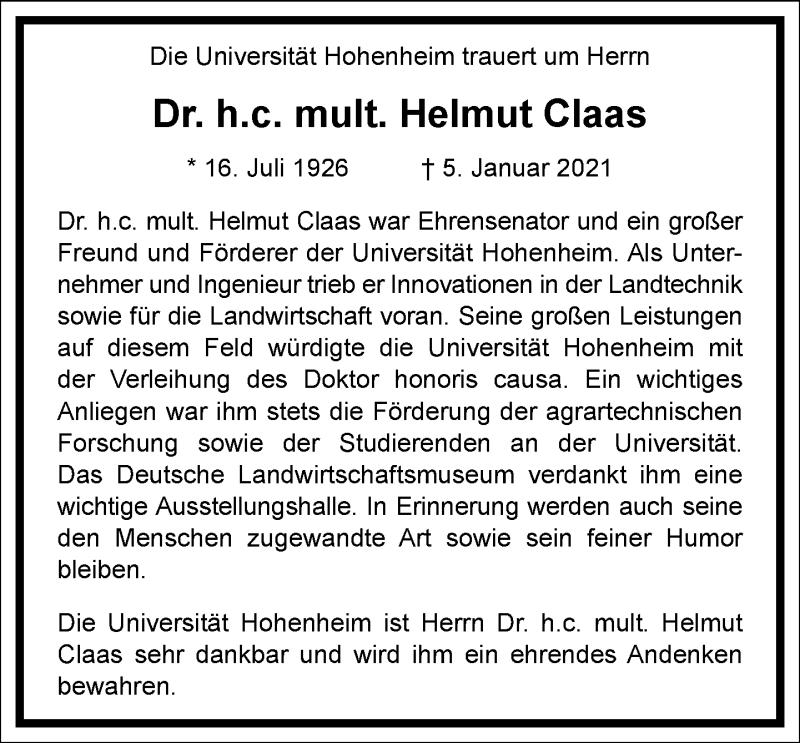 Traueranzeige für Helmut Claas vom 15.01.2021 aus Frankfurter Allgemeine Zeitung