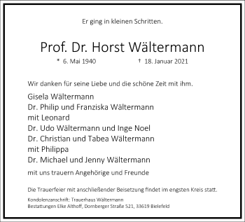 Traueranzeige von Horst Wältermann von Frankfurter Allgemeine Zeitung
