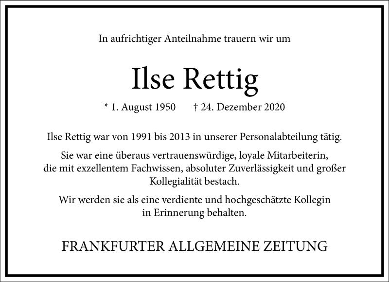Traueranzeige für Ilse Rettig vom 13.01.2021 aus Frankfurter Allgemeine Zeitung