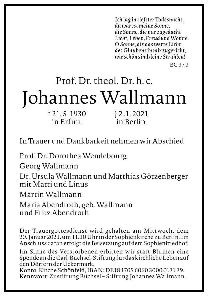 Traueranzeige für Johannes Wallmann vom 09.01.2021 aus Frankfurter Allgemeine Zeitung