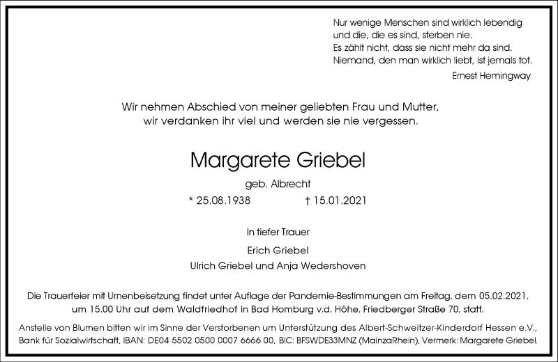 Traueranzeige für Margarete Griebel vom 30.01.2021 aus Frankfurter Allgemeine Zeitung