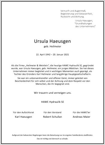 Traueranzeige von Ursula Haeusgen von Frankfurter Allgemeine Zeitung