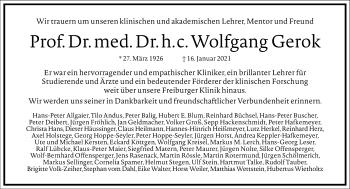 Traueranzeige von Wolfgang Gerok von Frankfurter Allgemeine Zeitung