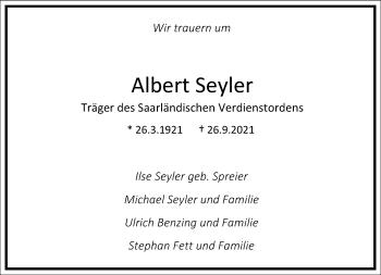 Traueranzeige von Albert Seyler von Frankfurter Allgemeine Zeitung
