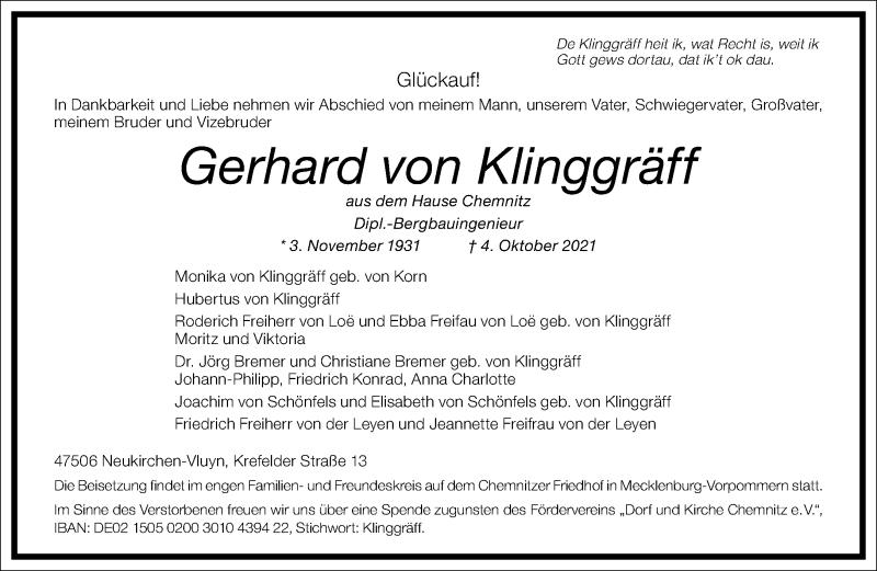 Traueranzeige für Gerhard von Klinggräff vom 08.10.2021 aus Frankfurter Allgemeine Zeitung