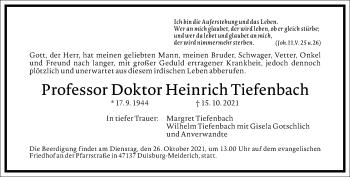 Traueranzeige von Heinrich Tiefenbach von Frankfurter Allgemeine Zeitung