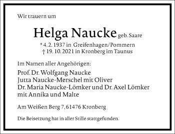 Traueranzeige von Helga Naucke von Frankfurter Allgemeine Zeitung