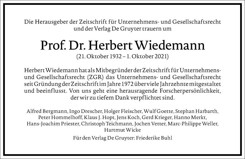 Traueranzeige für Herbert Wiedemann vom 09.10.2021 aus Frankfurter Allgemeine Zeitung