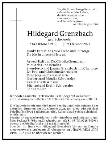 Traueranzeige von Hildegard Grenzbach von Frankfurter Allgemeine Zeitung