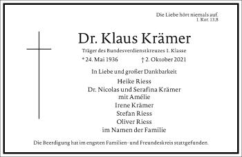 Traueranzeige von Klaus Krämer von Frankfurter Allgemeine Zeitung