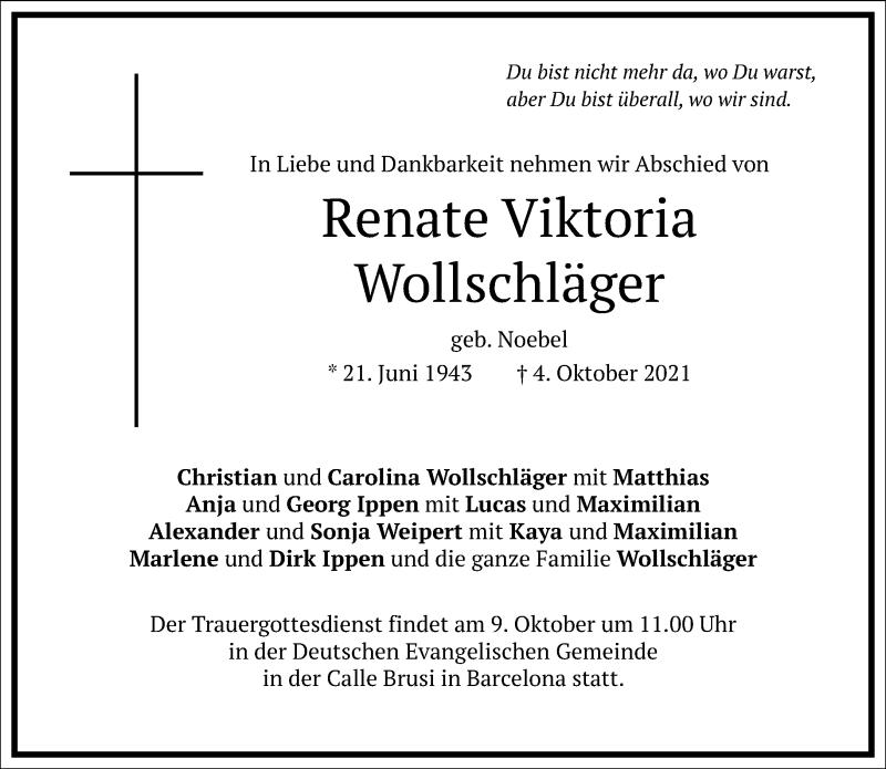 Traueranzeige für Renate Viktoria Wollschläger vom 08.10.2021 aus Frankfurter Allgemeine Zeitung