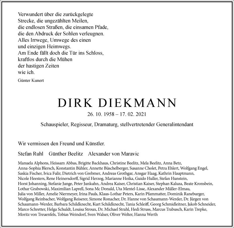 Traueranzeige für Dirk Diekmann vom 27.02.2021 aus Frankfurter Allgemeine Zeitung