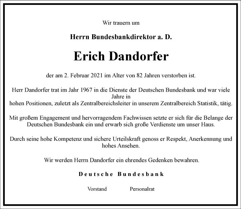 Traueranzeige für Erich Dandorfer vom 04.02.2021 aus Frankfurter Allgemeine Zeitung