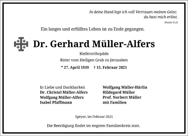 Traueranzeige für Gerhard Müller-Alfers vom 20.02.2021 aus Frankfurter Allgemeine Zeitung